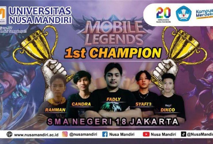 Tournament E-Sport MLBB Universitas Nusa Mandiri